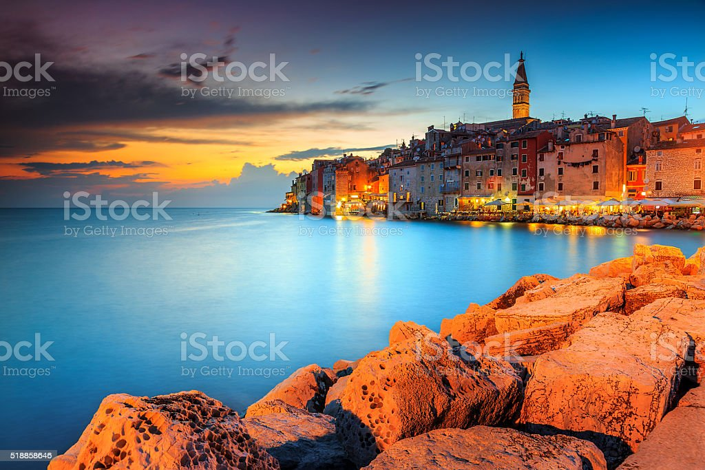 Stunning sunset with colorful sky,Rovinj,Istria region,Croatia,Europe stock photo