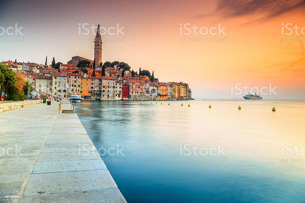 Stunning sunset with Rovinj old town,Istria region,Croatia,Europe stock photo