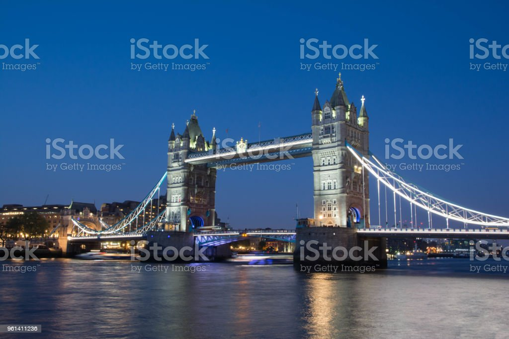 Stunning Tower bridge at blue hour. stock photo