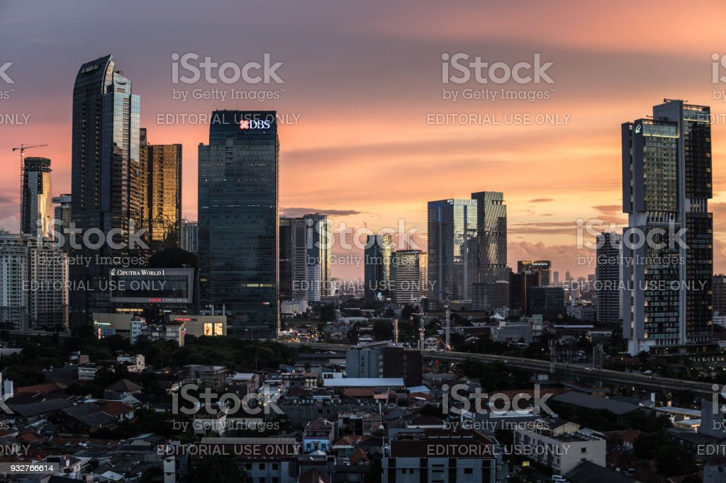 Stunning twilight over the business district skyline in Jakarta