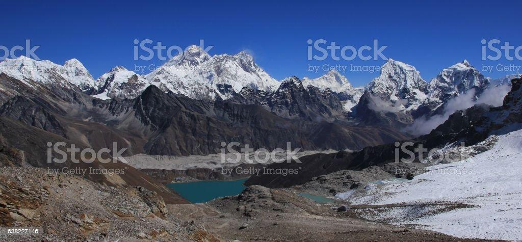 Stunning view from Renjo La mountain pass stock photo