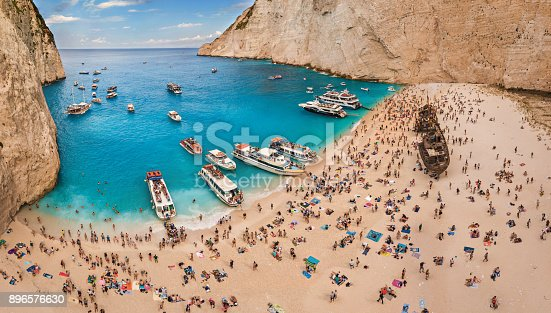 490314373 istock photo Stunning view from the air on crowded Navagio Shipwreck beach in Greece 896576630