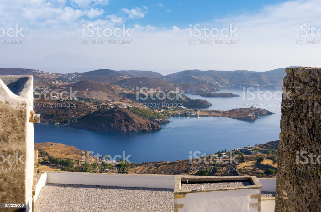 Stunning view from the monastery of Saint John the Theologian in Patmos island, Dodecanese, Greece stock photo