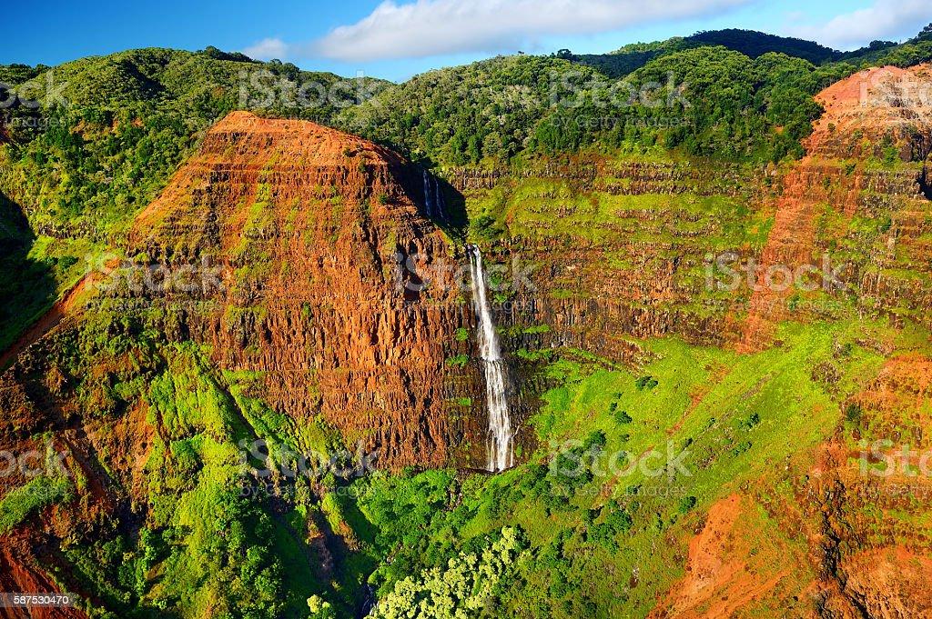 Stunning view into Waimea Canyon, Kauai stock photo