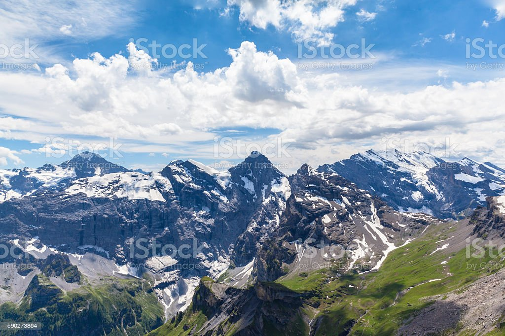 Stunning view of Bernese Alps from Schilhorn stock photo