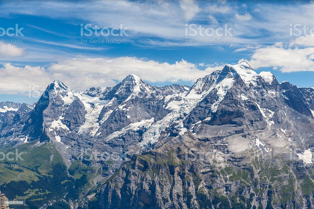 Stunning view of Eiger, Monch and Jungfrau stock photo