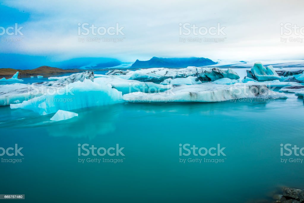 Stunning view of icebergs in glacier lagoon stock photo