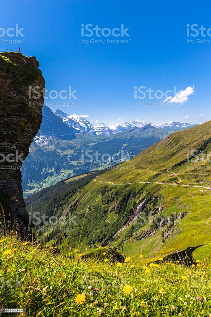 Stunning view of Jungfrau and otehr peaks stock photo
