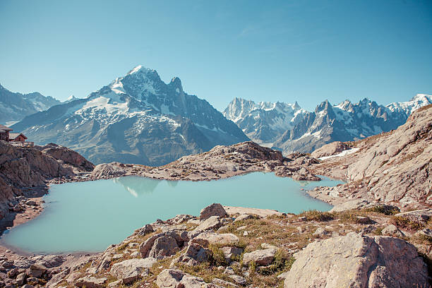 Royalty free auvergne rhne alpes pictures images and stock photos stunning view of mont blanc over lac blank near chamonix stock photo thecheapjerseys Choice Image