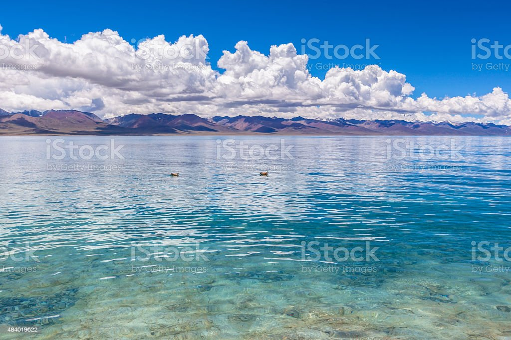 Stunning view of Namtso Lake stock photo