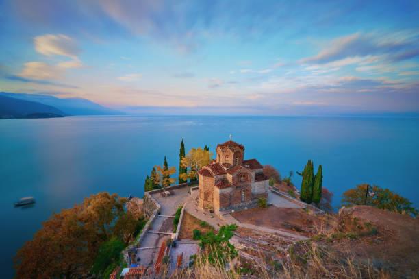 Stunning view of Saint John at Kaneo in the morning, Macedonia. stock photo