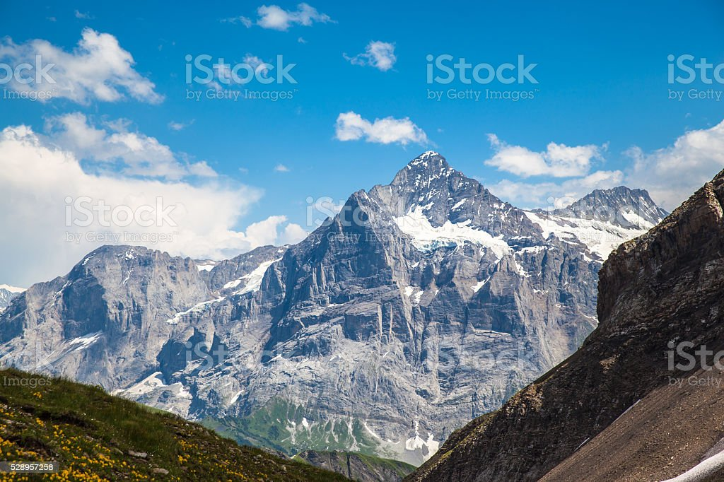 Stunning view of Schreckhorn stock photo