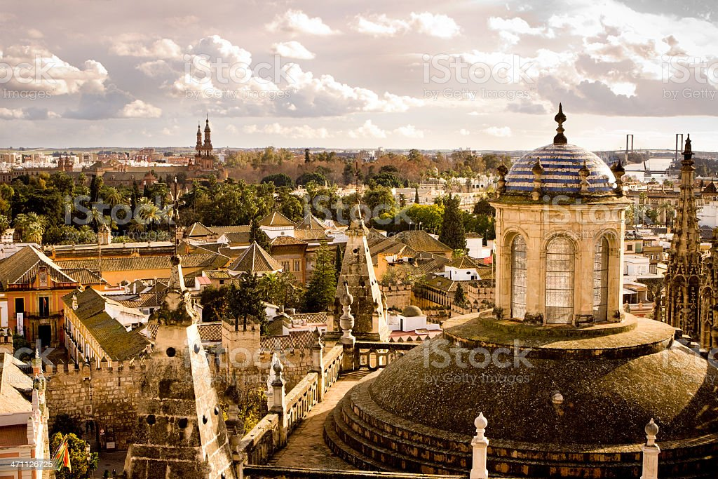 A stunning view of Seville cityscape with old churches royalty-free stock photo