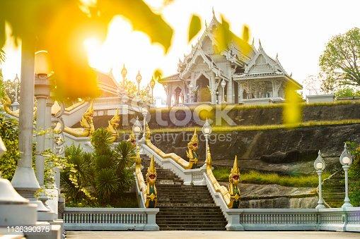 Stunning view of the beautiful Wat Kaew Ko Wararam or simply Wat Kaew during the sunset. Wat Kaew Korawaram is a Buddhist temple in the city of Krabi, Thailand.
