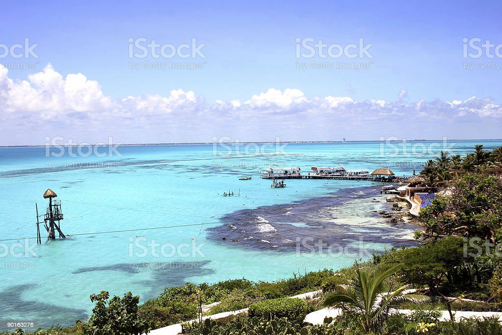 A stunning view of the Caribbean on a sunny day stock photo