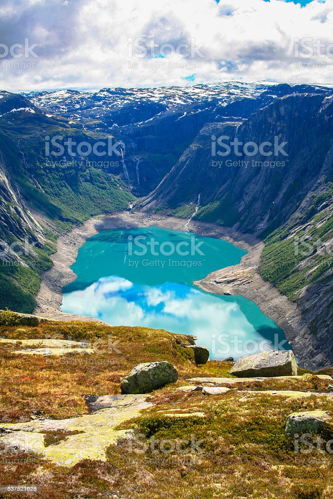 Stunning view of the Ringedalsvatnet lake and mountains stock photo