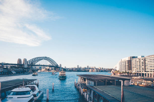 Stunning view of the waterfront near the Opera house to Sydney Harbour Bridge and sea pier and passenger boats stock photo