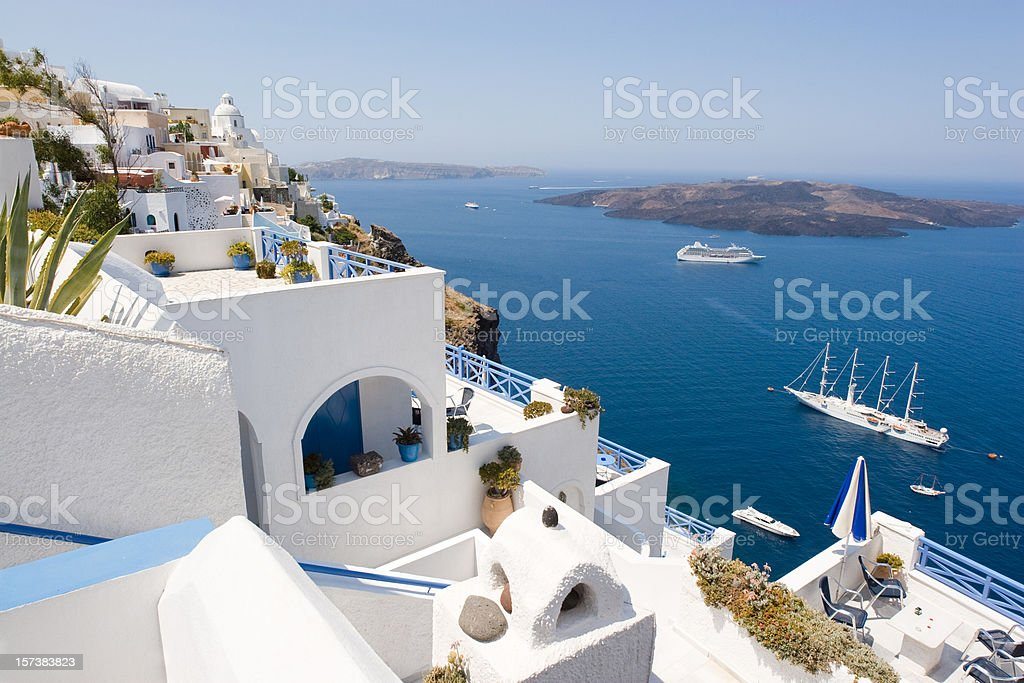 A stunning view of the waters in Santorini, Greece royalty-free stock photo