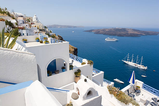 A stunning view of the waters in Santorini, Greece stock photo