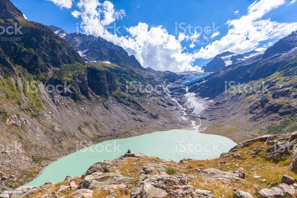 Stunning view of Trift lake and glacier stock photo
