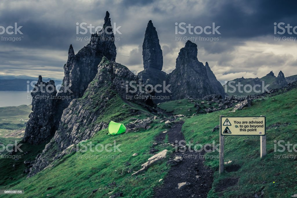 Stunning view to cloudy Old Man of Storr, Skye stock photo