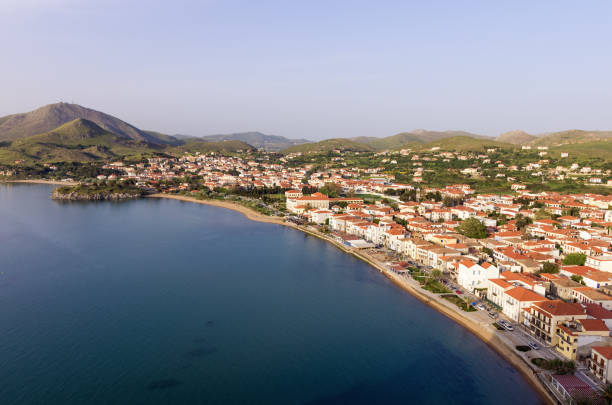 Stunning view to Myrina village, Lemnos island, Greece, as seen from the old fortress stock photo