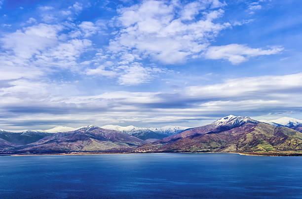 Stunning view to Prespes lakes, Florina, Greece stock photo