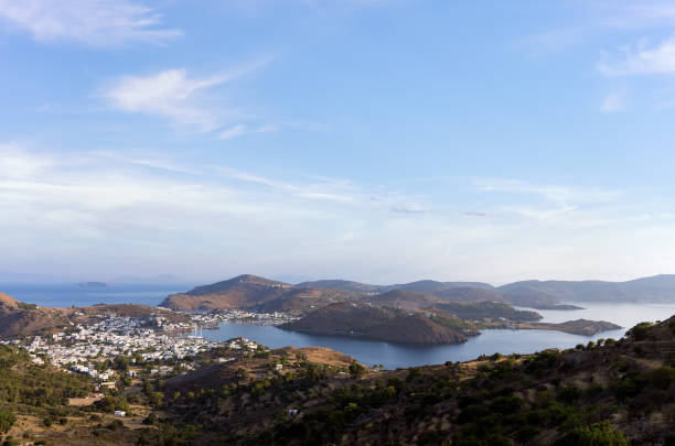 Stunning view to the sea from the chora of Patmos island, Greece, early in the morning stock photo