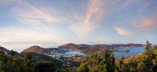 Stunning view to the sea from the chora of Patmos island, Greece, in the evening stock photo