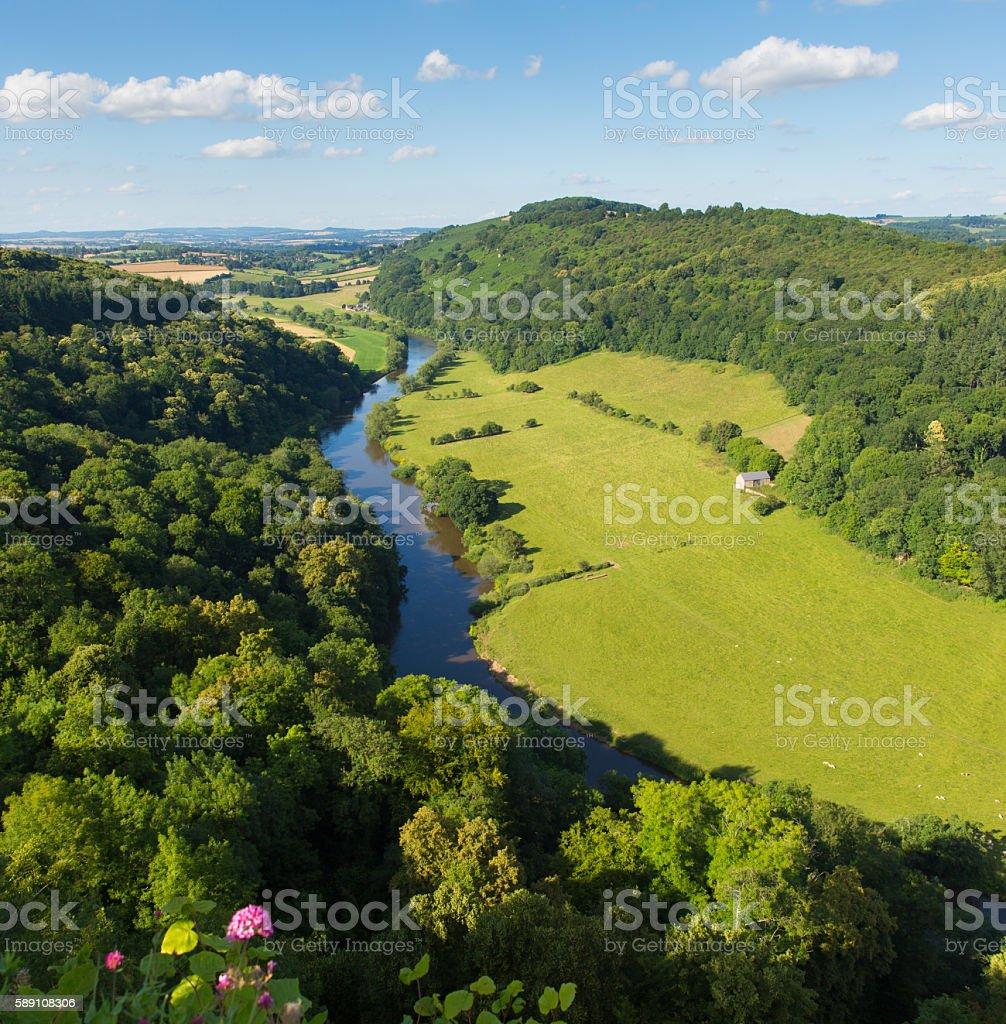 Stunning views beautiful English countryside Wye Valley and River Wye stock photo
