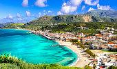 Stunning views of Kalyves bay and beach. Beautiful Crete island, Creece