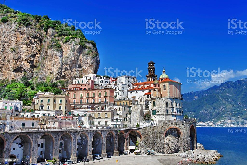 Stunning vista of buildings on the coast in Amalfi, Italy stock photo