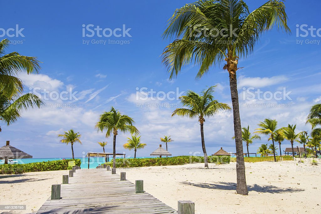 Stunning white beach in Turks and Caicos on Carribean stock photo