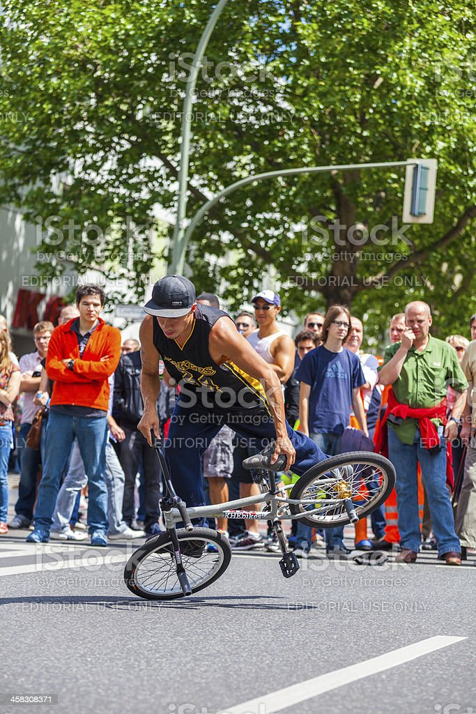 Stunt Bicycle Demonstration During St Christopher Street Day, Berlin royalty-free stock photo