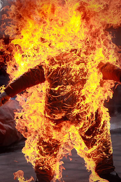 Stuntman On Fire stock photo