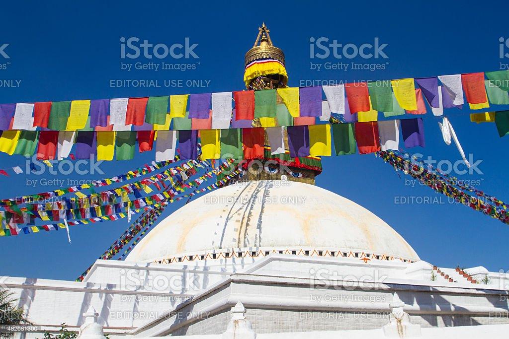 Stupa and Prayer Flags at Boudhanath, Kathmandu, Nepal stock photo