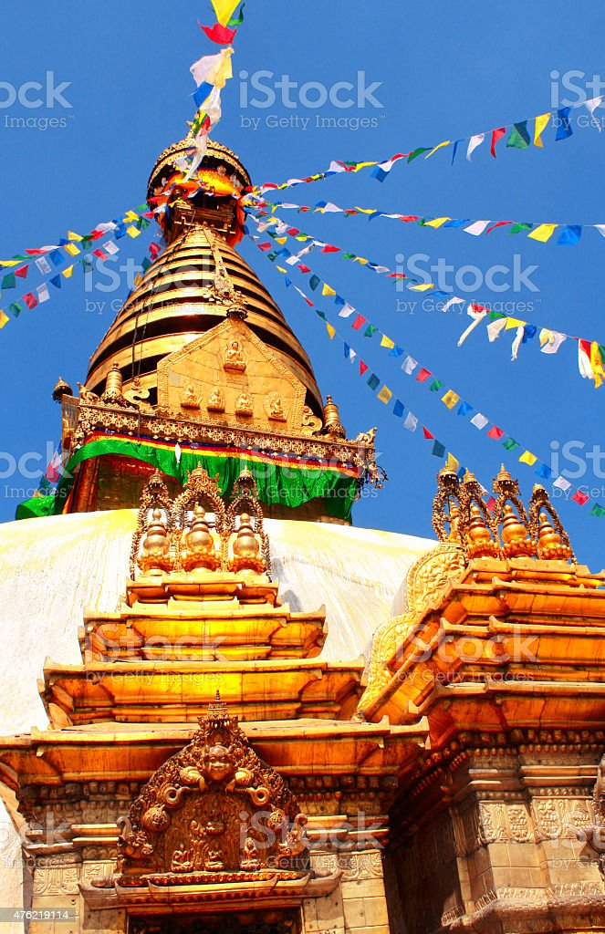 Stupa and prayer flags in Swayambhunath, Kathmandu, Nepal stock photo