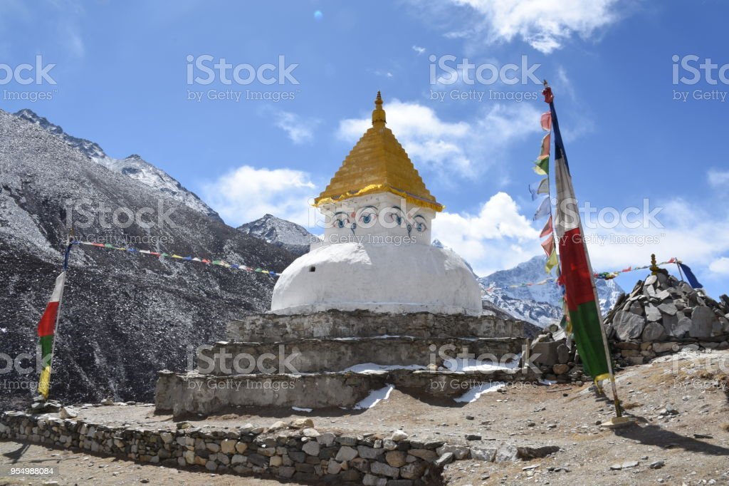 Stupa and praying flags in Dingboche, Nepal stock photo