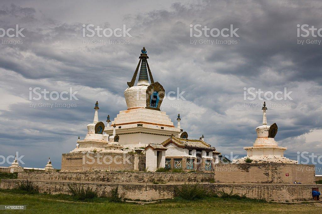 Stupa at Karakorum Monastery Mongolia royalty-free stock photo
