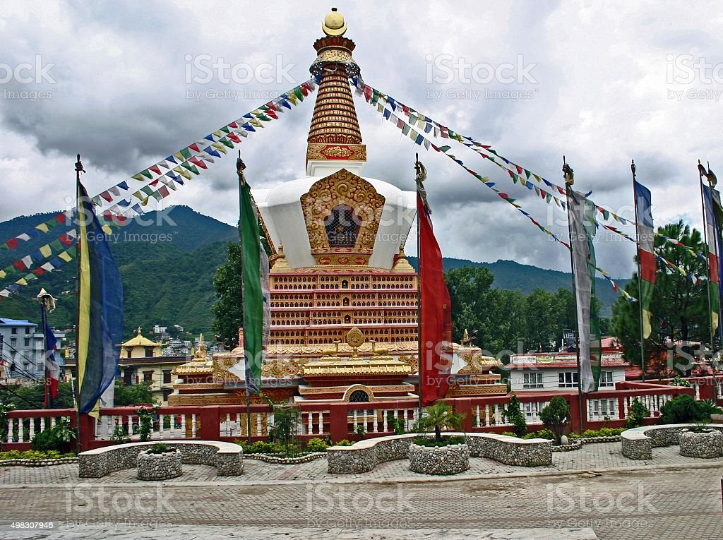 Stupa At Swayambhunath Temple, Kathmandu, Nepal stock photo