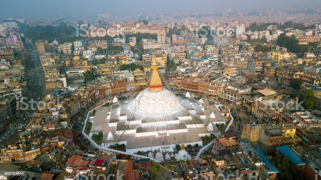 Stupa Bodhnath Kathmandu, Nepal - October 26, 2017 stock photo