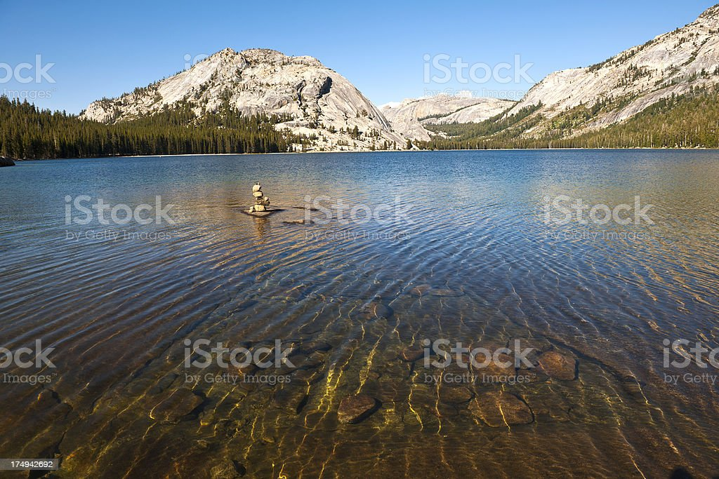 Stupa for Luck in Tenaya Lake Yosemite USA royalty-free stock photo