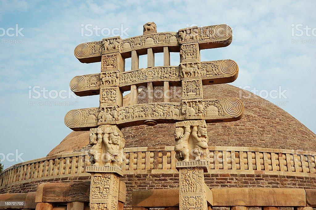 Stupa Gates at Sanchi,buit by Ashoka, famous indian landmark royalty-free stock photo