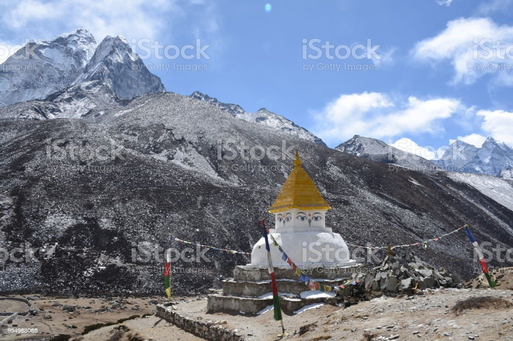 Stupa in Dingboche, Nepal stock photo