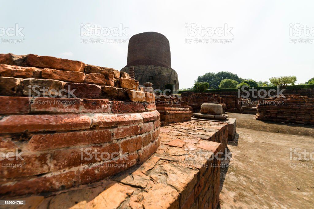 Stupa in place of the first sermon of the Buddha stock photo