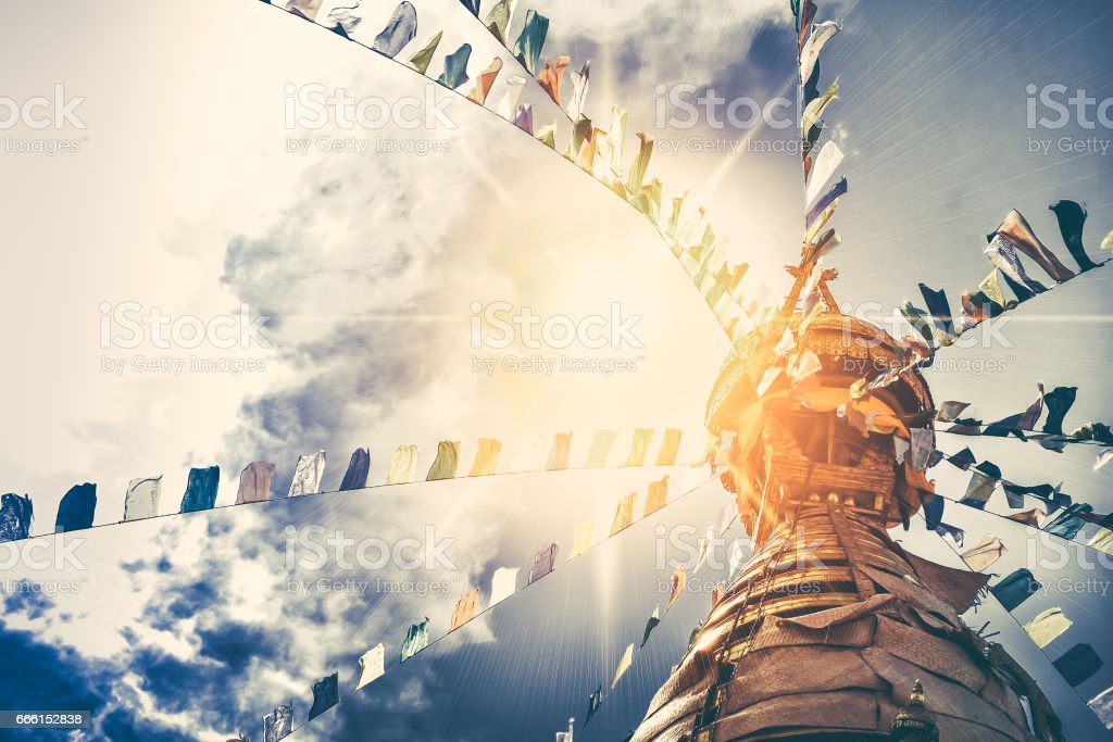 Stupa in Swayambhunath Monkey temple stock photo