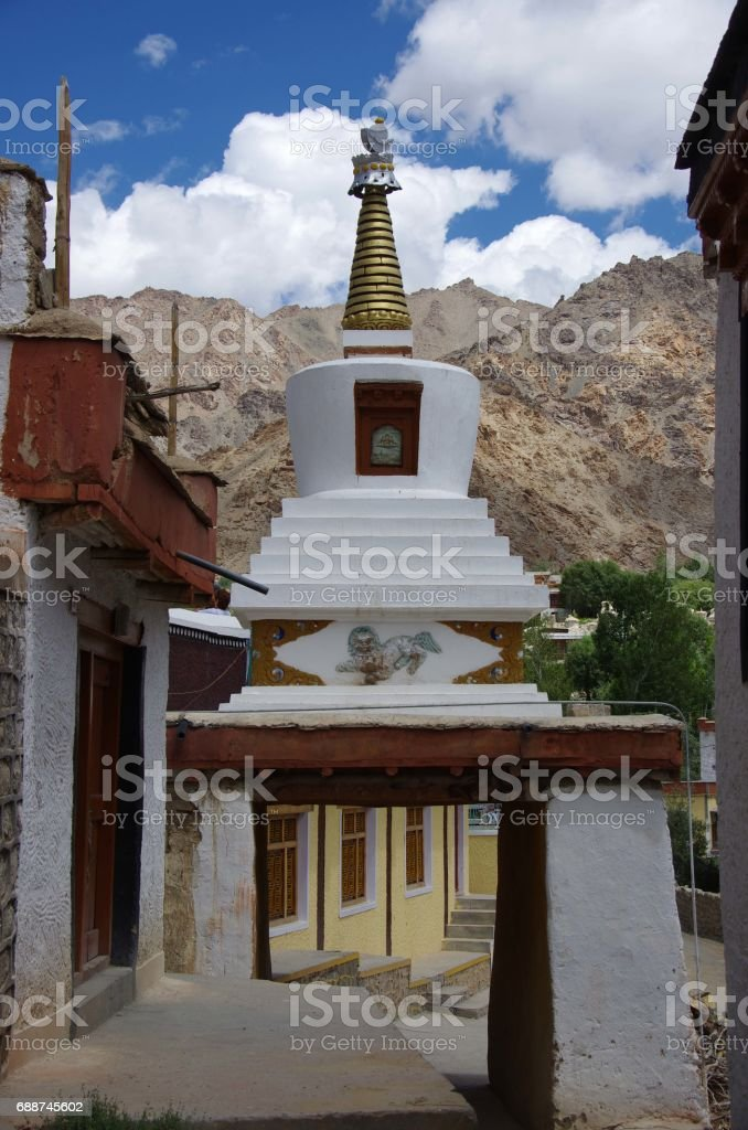 Stupa in the Likir monastery in Ladakh, India stock photo