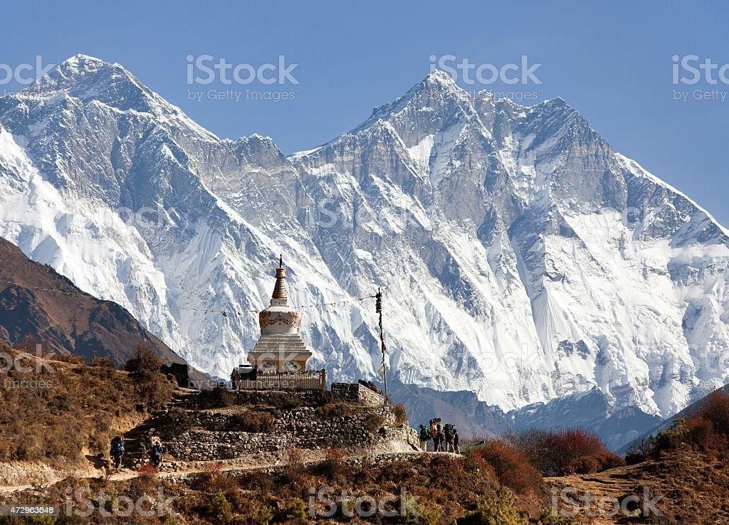 Stupa near Namche Bazar and Mount Everest, Lhotse and Nuptse stock photo