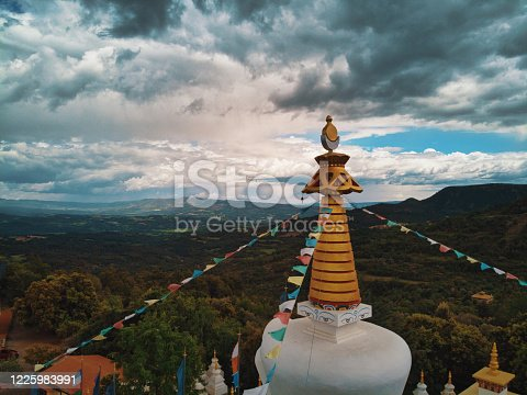 Top of the stupa of the Dag Shang Kagyu Buddhist Temple located in Panillo, Huesca. Highly recommended place to visit if you are in the Ribagorza area of Spain