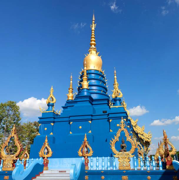 Stupa of Wat Rong Suea Ten in Chiang Rai, Thailand stock photo